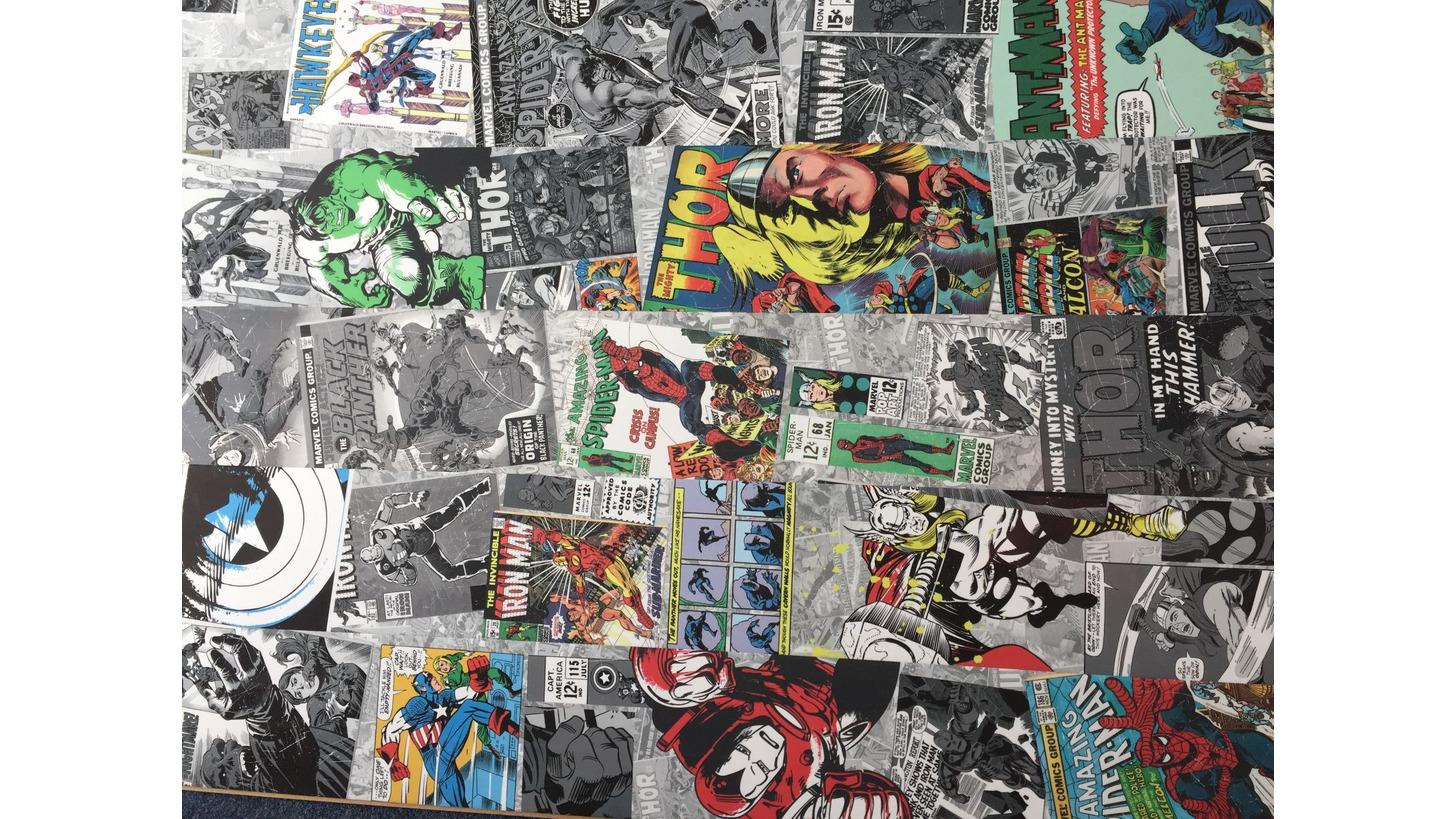 Logo Laminatboden mit Marvel-Comic-Motiven