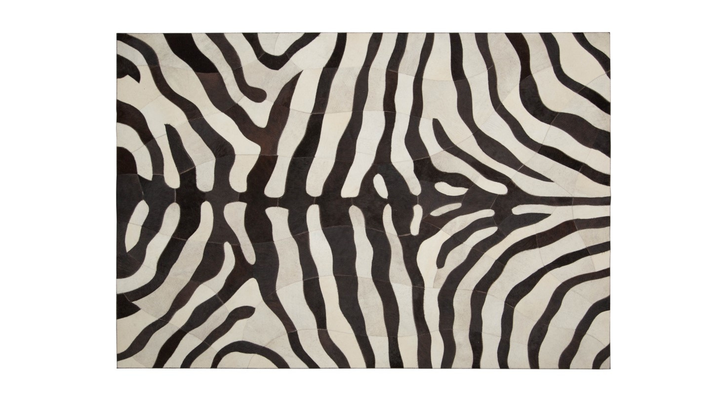 Logo Zebra Leather Rug