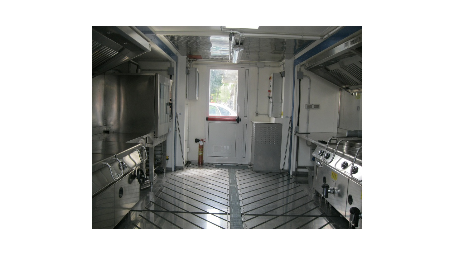 Logo internal view of a mobile kitchen