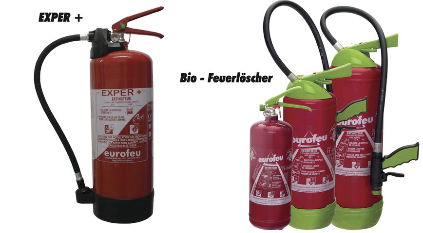 Logo EXPER+ and BIO fire extinguisher