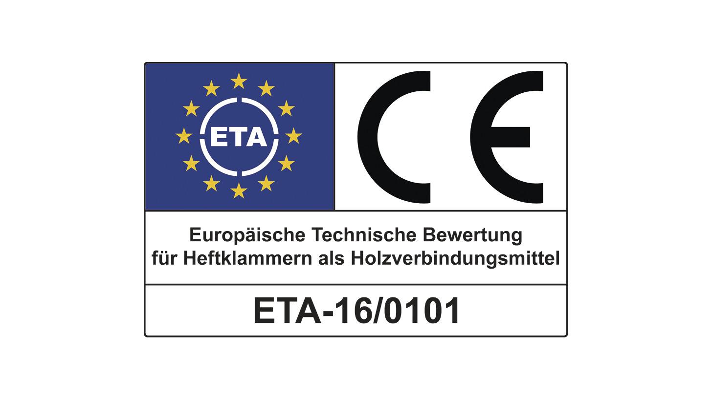 Logo Heftklammern mit ETA-Zertifizierung