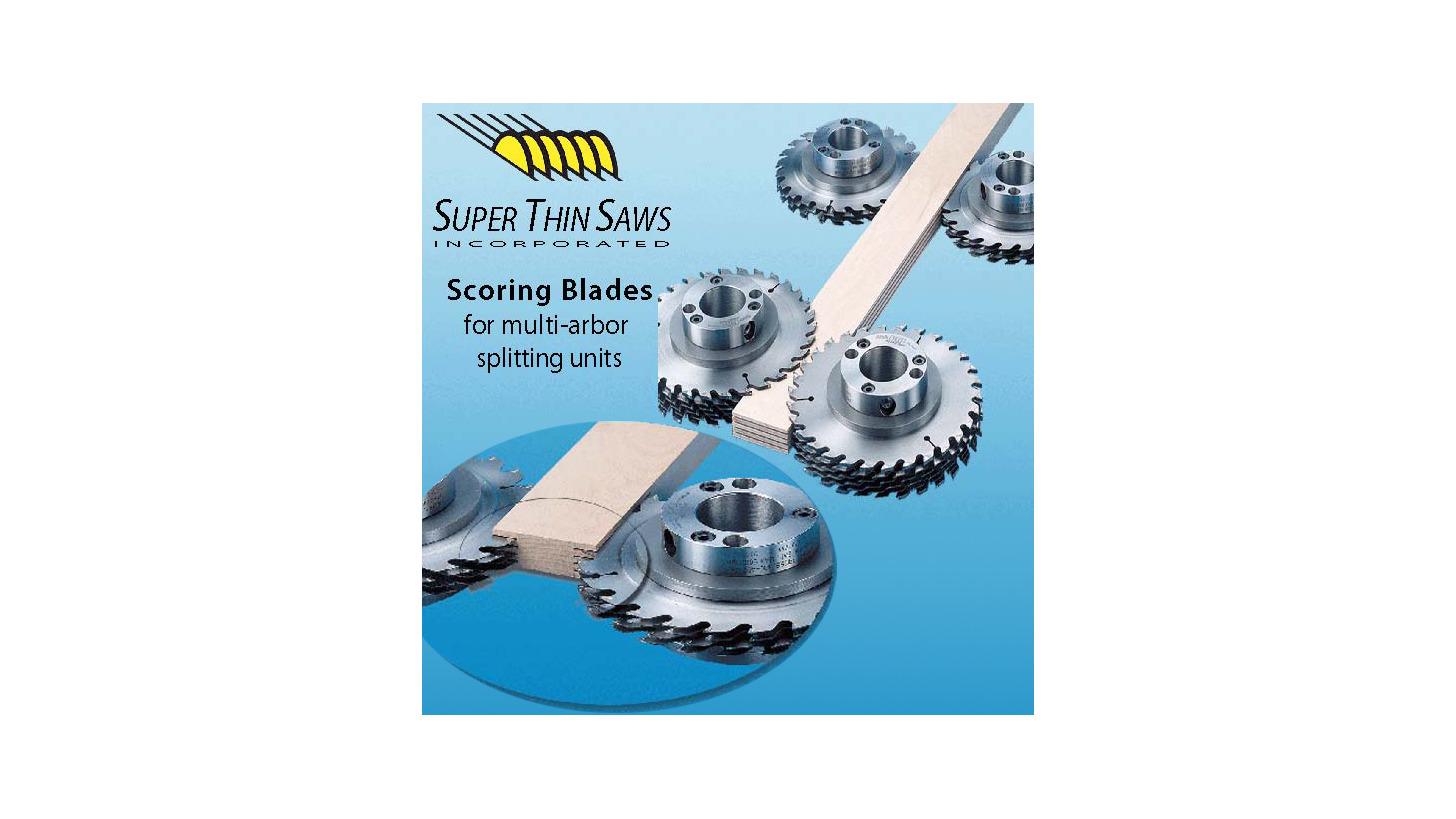 Logo scoring sawblades for double-vertical arbor splitting units