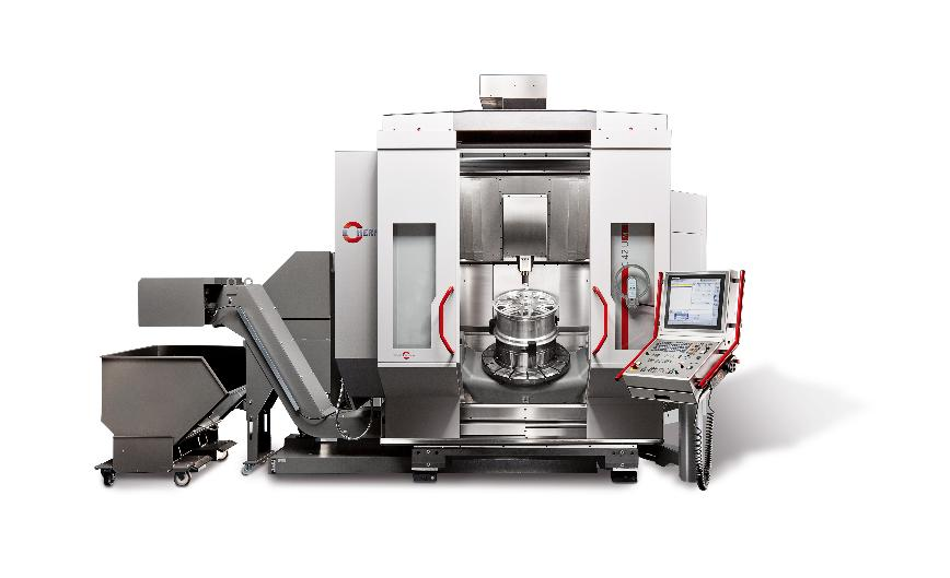 Logo The C 42 - a high-performance 5-axis CNC machining centre - milling an