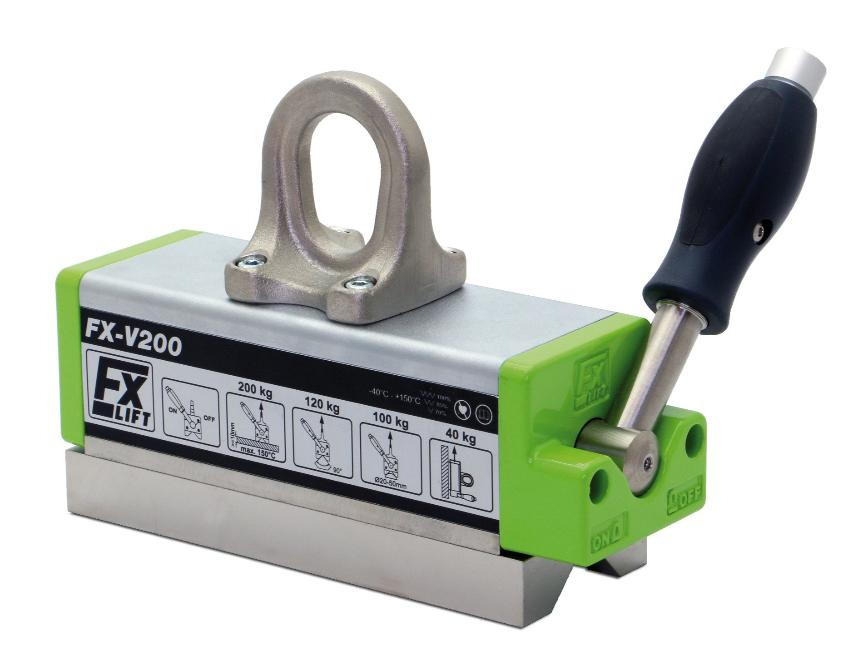 Logo FX-V Lasthebemagnete für 90° Profile, Träger und heiße Werkstücke