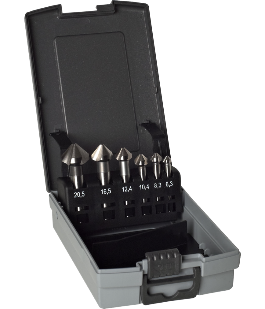 Logo Counterbore - Set Box 6 PCS. Countersink DIN 335 90º D:6,30 - 20,50 HS