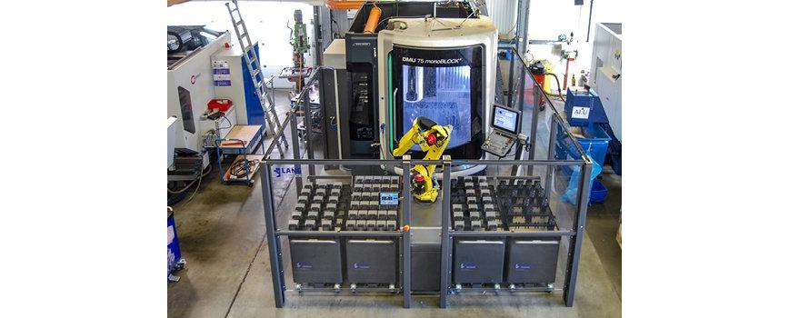 Logo Handling equipment for warehousing input and delivery of workpieces -