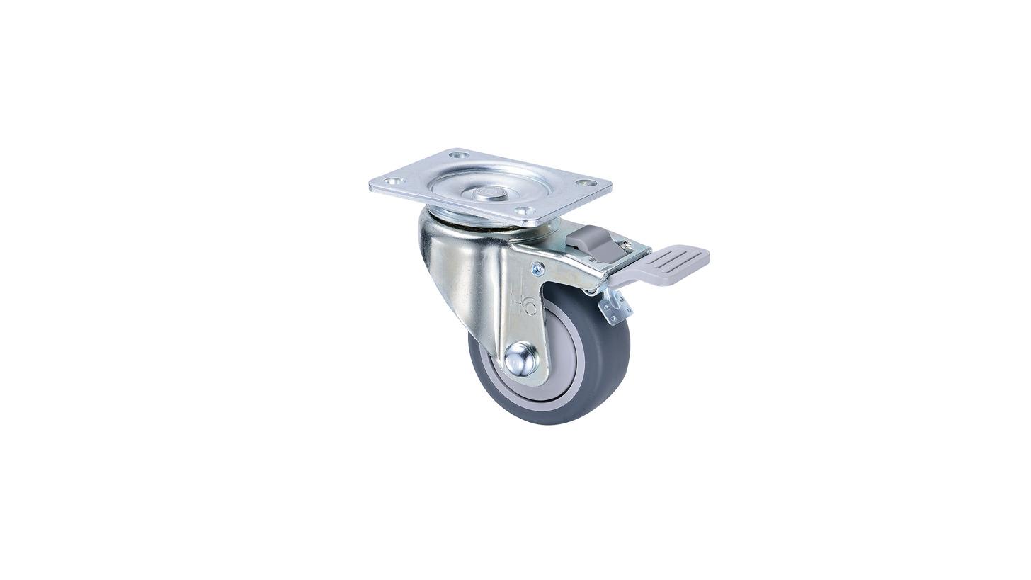 Logo 3 inch TPR Total Lock Caster