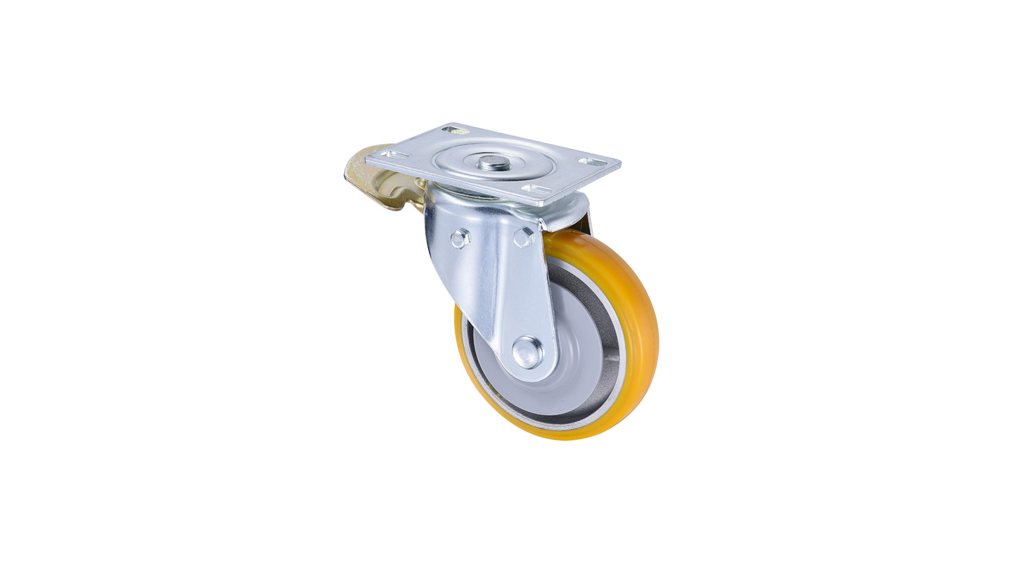 Logo 6 inch Heavy Duty PU Lock Brake Caster