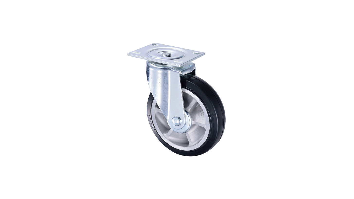 Logo 8 inch Heavy Duty Rubber Swivel Caster