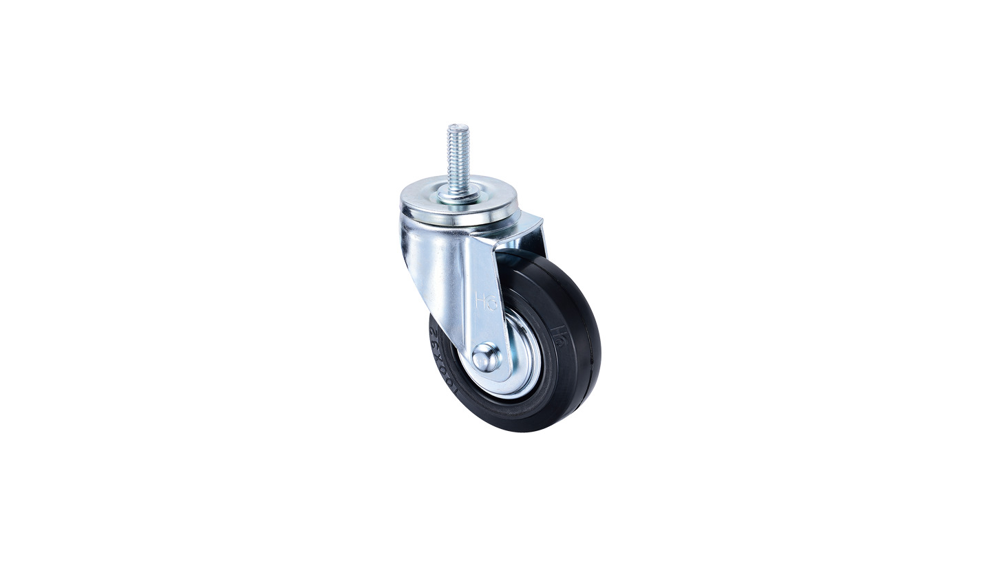 Logo 4 inch Rubber Caster with threaded stem