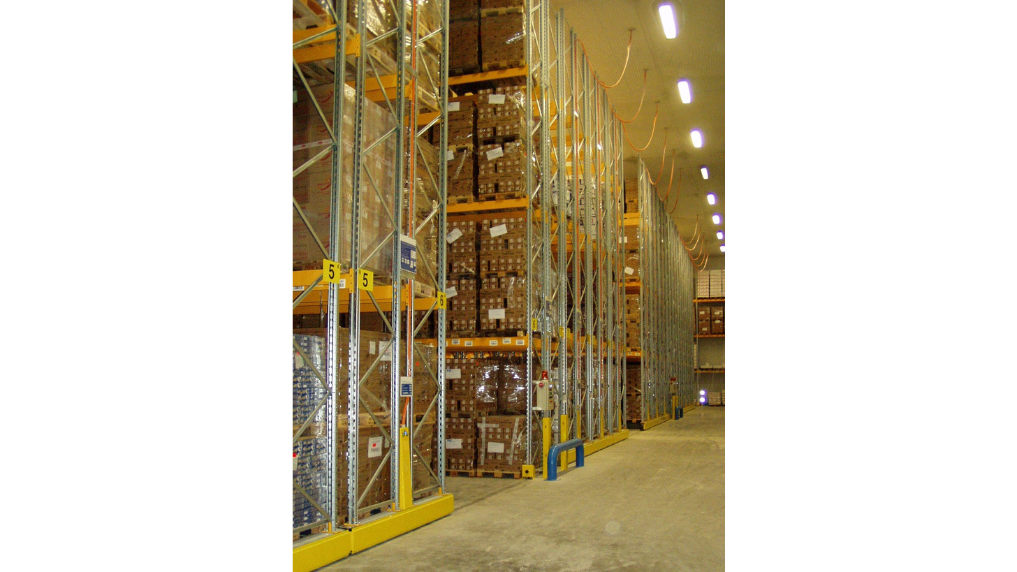 Logo mobile racking systems for refrigerated rooms