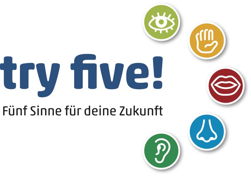 """Logo """"try five!"""" - Erlebnisparcours"""
