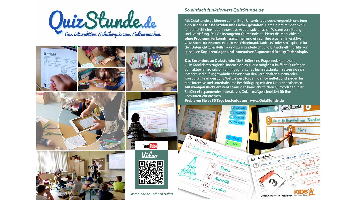 Logo QuizStunde -   interaktives SchülerQuiz