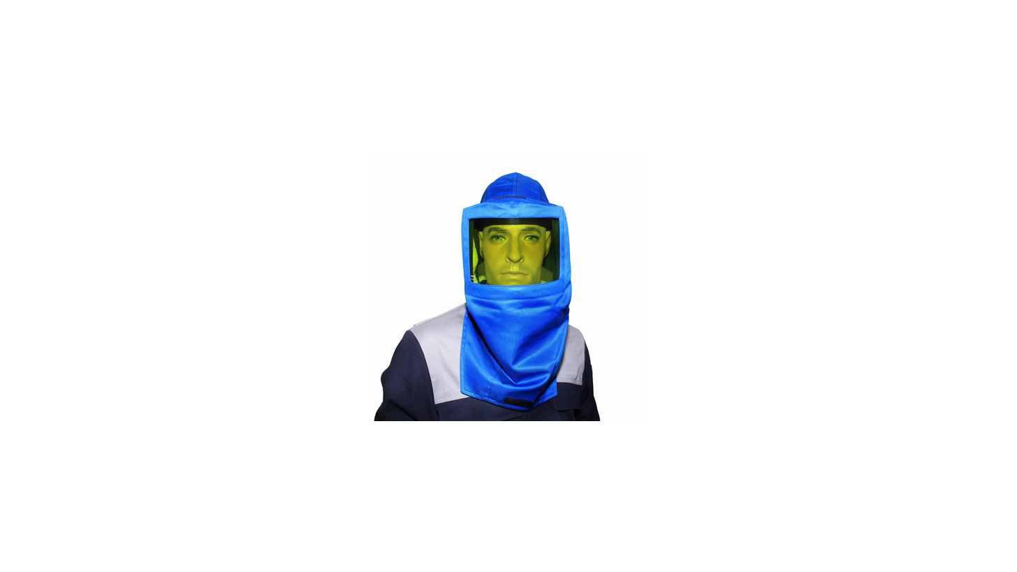 Logo Electrician protective face screen w/hood & ear protection;