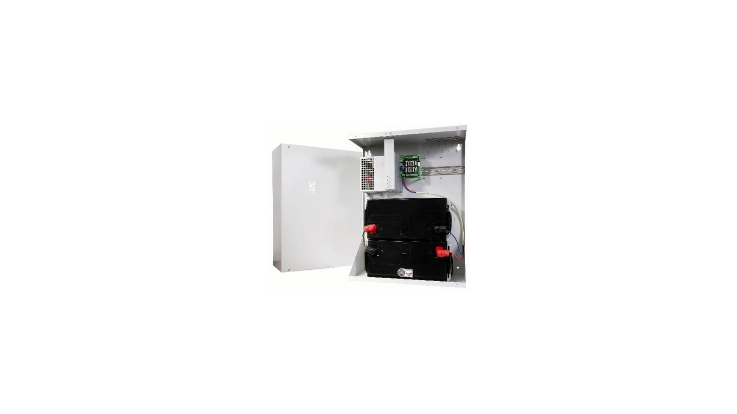 Logo DC UPS in cabinet for wall mounting certification according VDS