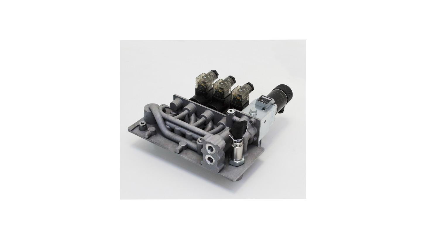 Logo 3D printed hydraulic manifold