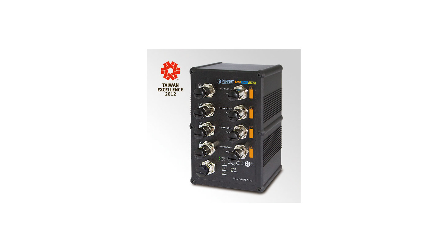 Logo Industrial IP67 8-Port M12 Fast Ethernet PoE Switch (ISW-804PT-M12)