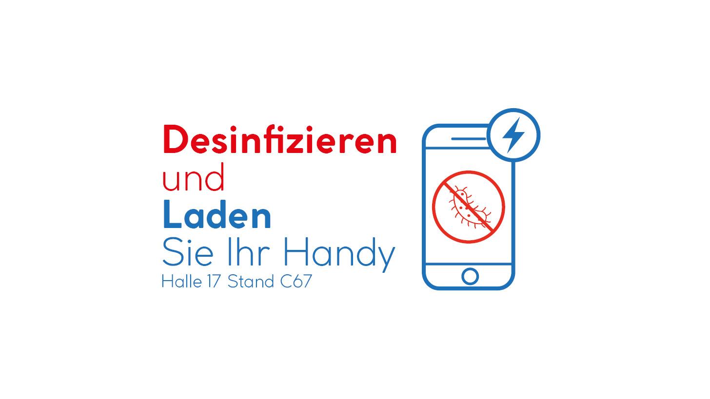 Logo Desinfizieren und Laden Sie Ihr Handy!