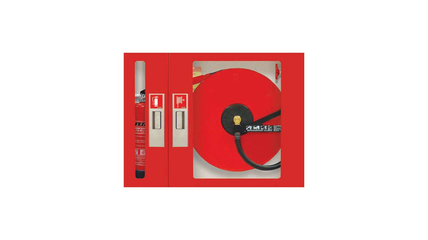 Logo Fire Cabinets with Semi Rigid Hoses