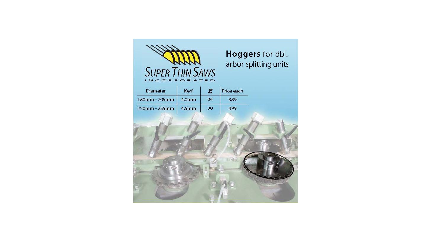 Logo hogger sawblades for double arbor splitting units